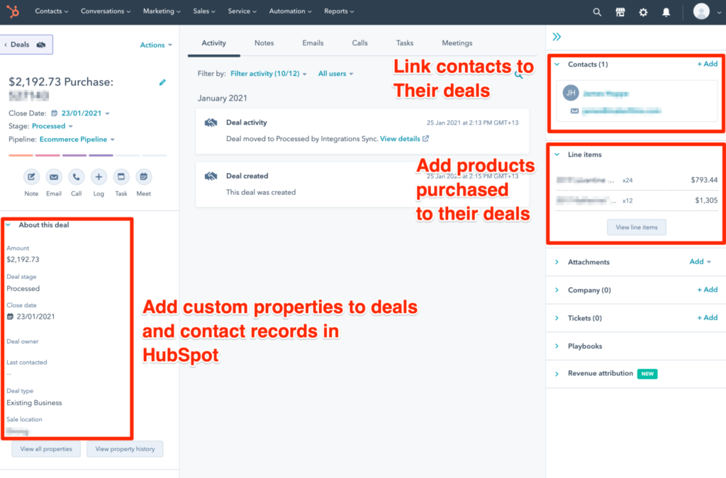 Zen HubSpot Integration Deal setup in HubSpot